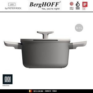 LEO Антипригарная кастрюля, 3 литра, D 20 см, индукционное дно, BergHOFF, арт. 96786, фото 4