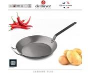 Профессиональная сковорода Carbone Plus, D 36 см, H 5.1 см, карбоновая сталь, de Buyer, Франция