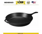 Большая сковорода чугунная, D 38 см, H 6.5 см, Lodge, США