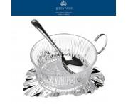 Вазочка Anne для варенья с ложкой на подставке, стекло, сталь нержавеющая с серебряным напылением, Queen Anne, Великобритания