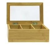 Ящик для чайных пакетиков, 3 отделения, L 21,8 см, W 13 см, бамбук, Oriental Way, Таиланд