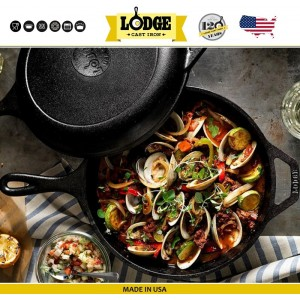 Двойная сковорода 2 в 1, D 26 см, 3 литра, литой чугун, Lodge, США, арт. 65044, фото 6