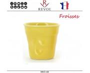 """Froisses """"Мятый керамический стаканчик"""" для кофе эспрессо, 80 мл, лимонный, REVOL, Франция"""