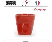 """Froisses """"Мятый керамический стаканчик"""" для кофе эспрессо, 80 мл, клубничный, REVOL, Франция"""