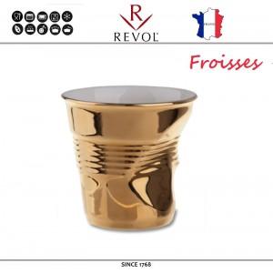 """Froisses """"Мятый керамический стаканчик"""" для кофе эспрессо, 80 мл, золотой, REVOL, Франция, арт. 69687, фото 1"""