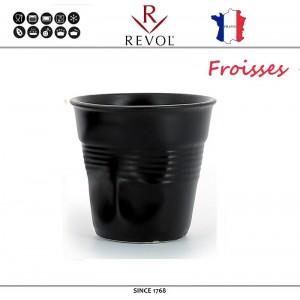 """Froisses """"Мятый керамический стаканчик"""" для кофе эспрессо, 80 мл, черный, REVOL, Франция, арт. 77890, фото 1"""