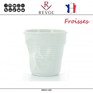"""Froisses """"Мятый керамический стаканчик"""" для кофе эспрессо, 80 мл, белый, REVOL, Франция, арт. 8930, фото 1"""