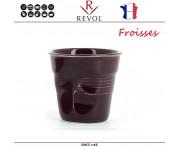 """Froisses """"Мятый керамический стаканчик"""" для кофе эспрессо, 80 мл, ежевичный, REVOL, Франция"""