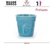 """Froisses """"Мятый керамический стаканчик"""" для кофе эспрессо, 80 мл, бирюзовый, REVOL, Франция"""