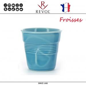 """Froisses """"Мятый керамический стаканчик"""" для кофе эспрессо, 80 мл, бирюзовый, REVOL, Франция, арт. 8927, фото 1"""
