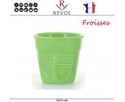 """Froisses """"Мятый керамический стаканчик"""" для кофе эспрессо, 80 мл, зеленый, REVOL, Франция"""