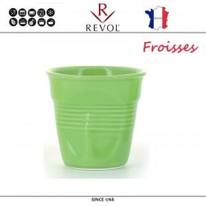 """Froisses """"Мятый керамический стаканчик"""" для кофе эспрессо, 80 мл, зеленый, REVOL, Франция, арт. 8923, фото 1"""