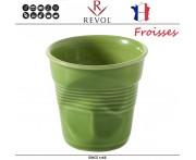 """Froisses """"Мятый керамический стаканчик"""" для кофе, 180 мл, зеленый, REVOL, Франция"""