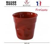 """Froisses """"Мятый керамический стаканчик"""" для кофе, 120 мл, красный, REVOL, Франция"""