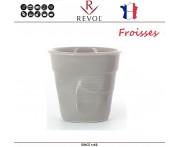 """Froisses """"Мятый керамический стаканчик"""" для кофе эспрессо, 80 мл, светло-серый, REVOL, Франция"""