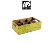 Деревянный ящик Vintage для аксессуаров, 6 ячеек, желтый, APS