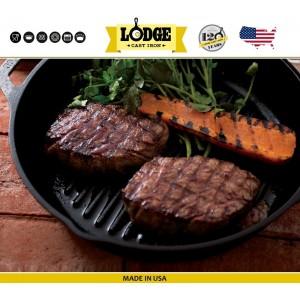Сковорода-гриль чугунная круглая, D 26 см, литой чугун, Lodge, США, арт. 5248, фото 6