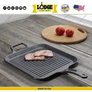 Сковорода-гриль чугунная плоская, W 30х30 см, литой чугун, Lodge, США, арт. 79493, фото 7