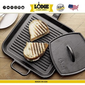 Сковорода-гриль чугунная плоская, W 30х30 см, литой чугун, Lodge, США, арт. 79493, фото 2