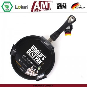 Антипригарная сковорода Diamond Induction для плиты и духовки, D 24 см, H 4 см, индукционное дно, съемная ручка, AMT, Германия, арт. 105, фото 3