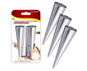 Конусы кондитерские для вафельных трубочек и слоеных рожков, 3 шт по 12 см, сталь нержавеющая, MD