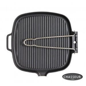 Гриль-сковорода чугунная со складной ручкой, черная эмаль, 27 x 25 см, серия BLACK, CHASSEUR, Франция , арт. 463, фото 2