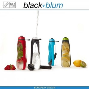 Eau Good DUO эко-бутылка для воды с клапаном для питья и угольным фильтром, 800 мл, серо-красный, Black+Blum, арт. 90725, фото 11