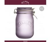 Банка Clip Top матовое стекло сиреневое, 1 литр, Kilner