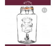 Диспенсер Clip Top для лимонада и холодных напитков, 5 л, этикетка, KILNER, Англия