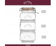 Набор банок Clip Top, 3 шт по 0.9 л., стекло, KILNER, Англия