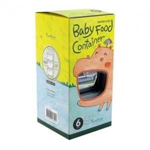 Набор детских пищевых контейнеров, квадратные, 3 шт по 210 мл, стекло, GlassLock Yum Yum, США - Корея, арт. 11126, фото 4