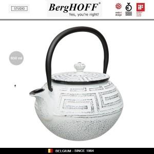 Заварочный чайник STUDIO чугунный с ситечком, 0.65 л, цвет античный белый, BergHOFF, арт. 87176, фото 3