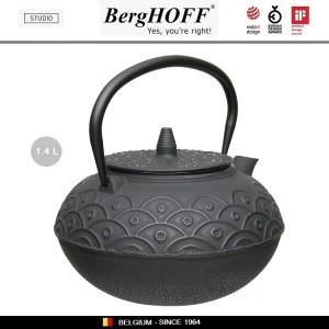 Заварочный чайник STUDIO чугунный с ситечком, 1.4 л, цвет черный, BergHOFF, арт. 89799, фото 3