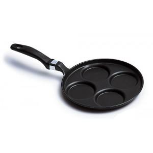 Сковорода для оладьев, омлета, индукционное дно, 4 отделения, D 25 см, H 2,7 см, литой алюминий, тефлон, Risoli, Италия, арт. 6825, фото 2