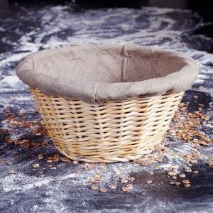 Корзина для расстойки хлеба с чехлом, D 28,5 см, H 13 см,  лоза ивовая, MATFER, Франция, арт. 5452, фото 3