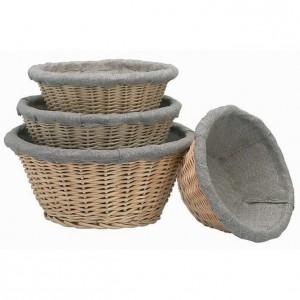 Корзина для расстойки хлеба с чехлом, D 28,5 см, H 13 см,  лоза ивовая, MATFER, Франция, арт. 5452, фото 1