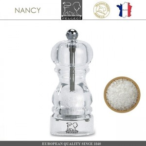 Мельница NANCY для соли, H 12 см, акрил прозрачный, PEUGEOT, Франция, арт. 8705, фото 1