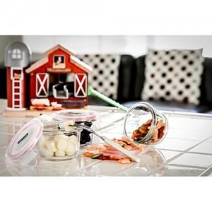 Набор для детей: пищевые контейнеры с ложкой, 8 шт, жаропрочное стекло, розовый цвет, GlassLock, США - Корея, арт. 11125, фото 4