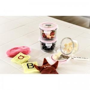 Набор для детей: пищевые контейнеры с ложкой, 8 шт, жаропрочное стекло, розовый цвет, GlassLock, США - Корея, арт. 11125, фото 3