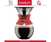 Кофейник - пуровер Pour Over со стальным фильтром, 1000 мл, красный, BODUM