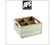 Деревянный ящик Vintage для аксессуаров, 4 ячейки, голубой, APS