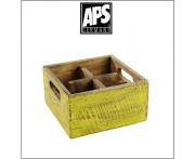 Деревянный ящик Vintage для аксессуаров, 4 ячейки, желтый, APS