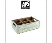 Деревянный ящик Vintage для аксессуаров, 6 ячеек, голубой, APS