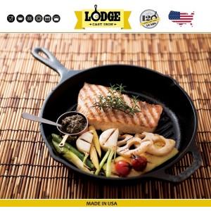 Сковорода-гриль чугунная круглая, D 26 см, литой чугун, Lodge, США, арт. 5248, фото 7