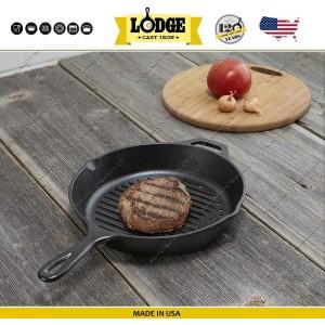 Сковорода-гриль чугунная круглая, D 26 см, литой чугун, Lodge, США, арт. 5248, фото 2