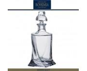 Графин-штоф QUADRO для виски, коньяка , 850 мл, хрустальное стекло, Bohemia, Чехия