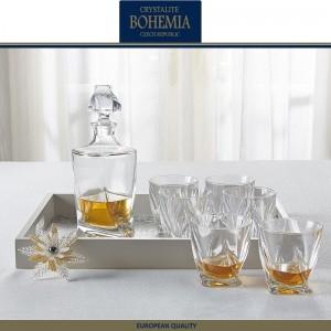 Графин-штоф QUADRO для виски, коньяка , 850 мл, хрустальное стекло, Bohemia, Чехия, арт. 31835, фото 4