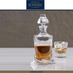 Графин-штоф QUADRO для виски, коньяка , 850 мл, хрустальное стекло, Bohemia, Чехия, арт. 31835, фото 2