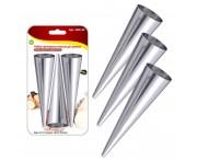 Конусы кондитерские для вафельных трубочек и слоеных рожков, 3 шт по 15 см, сталь нержавеющая, MD