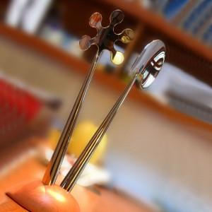 Набор для салата: ложка вилка, на подставке, дерево/сталь, серия Lola, CASA BUGATTI, Италия, арт. 366, фото 3